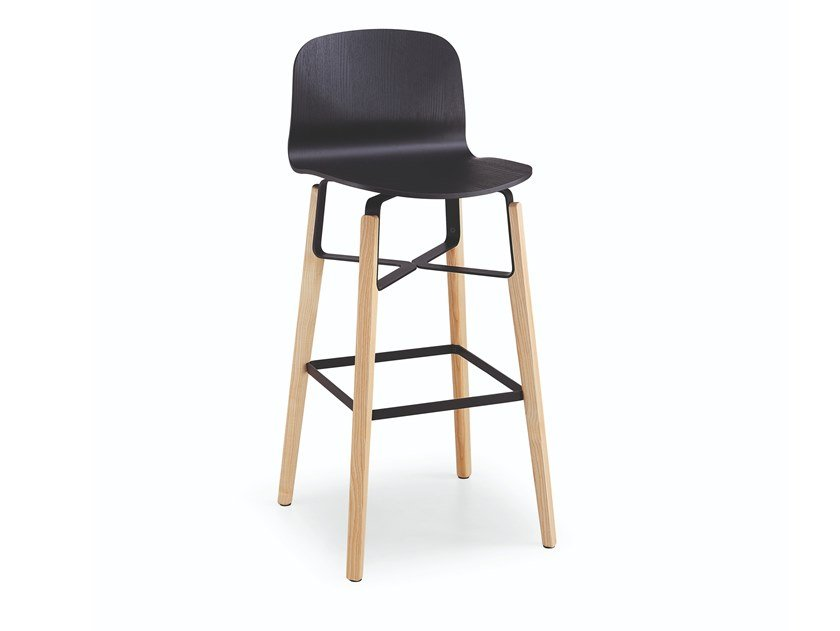 High wooden stool with back with footrest LIÙ H65 / H75 ML by Midj
