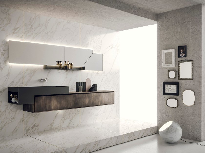Wall Mounted Vanity Unit With Mirror Libera Composizione 01 By Novello