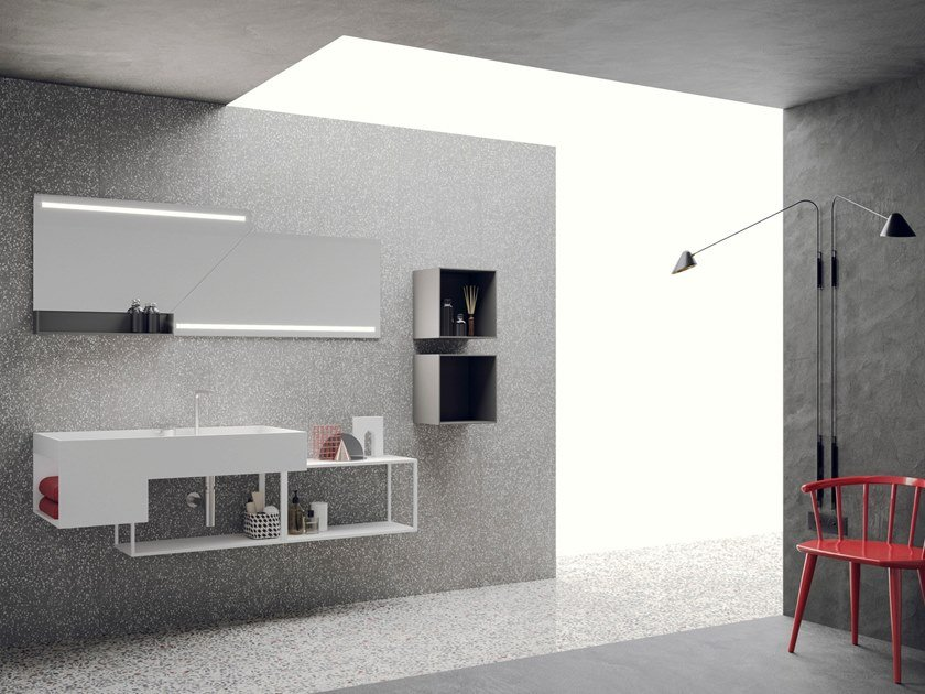Lacquered wall-mounted vanity unit with mirror LIBERA +   COMPOSIZIONE 03 by NOVELLO