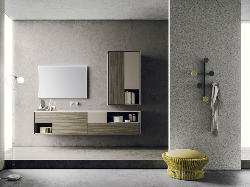 Lacquered wall-mounted ash vanity unit with mirror LIBERA + | COMPOSIZIONE 04 by NOVELLO