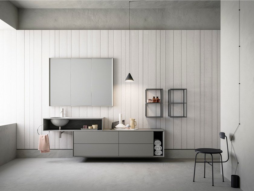 Lacquered wall-mounted vanity unit with mirror LIBERA+ | COMPOSIZIONE 02 by NOVELLO