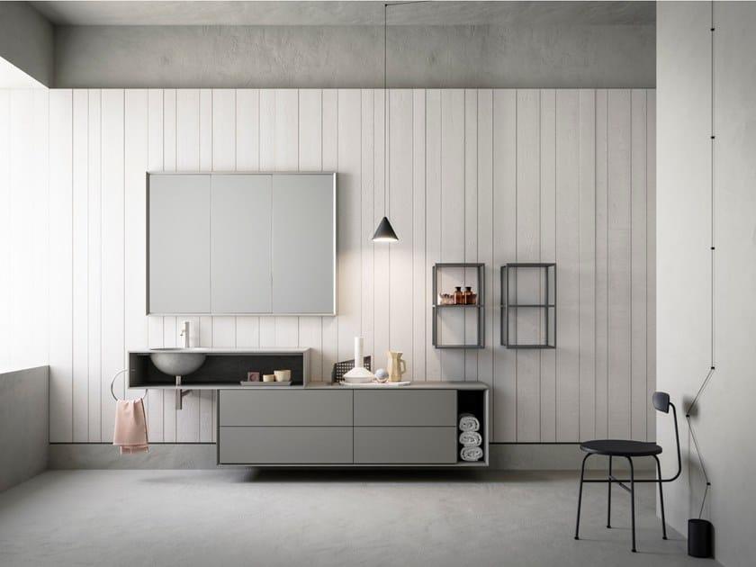 Mobile lavabo sospeso con specchio LIBERA+ | COMPOSIZIONE 02 by NOVELLO