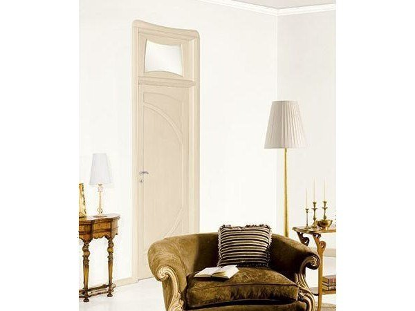 Solid wood lacquered door with transom window LIBERTY by LEGNOFORM