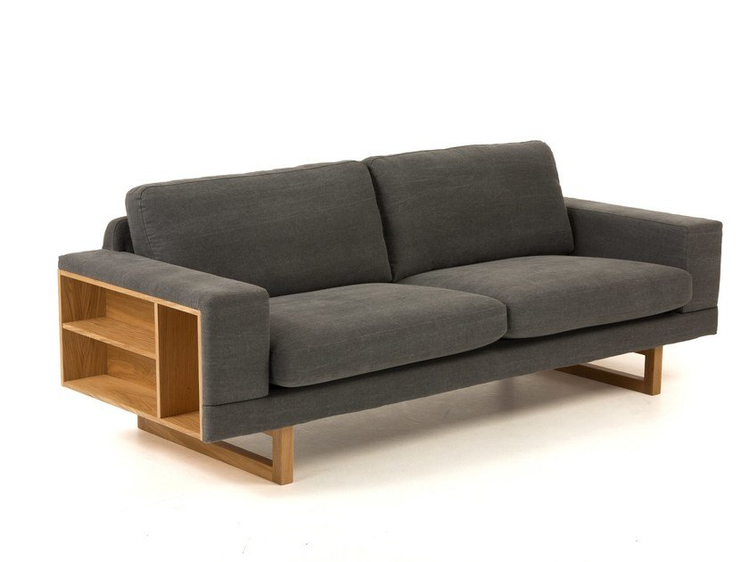 2 seater fabric sofa with integrated magazine rack LIBRERIA by Woodman