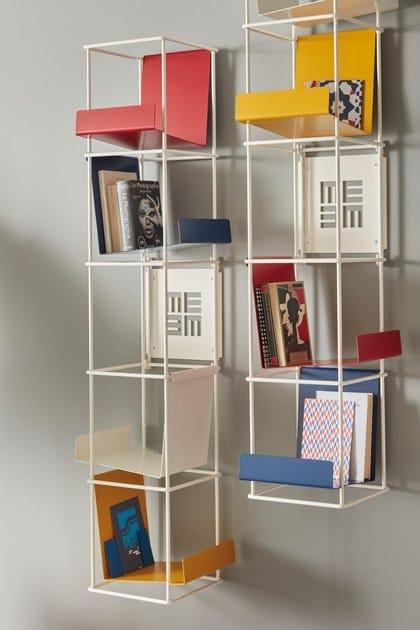Libreria A Muro Sospesa.Libreria A Giorno A Parete Sospesa In Metallo Libro Verticale