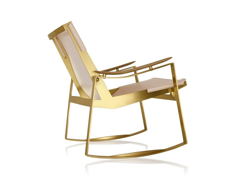 Rocking brass armchair with armrests LICCE | Rocking armchair by Sollos