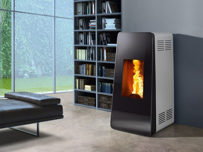 Pellet Class A+ wall-mounted steel stove LIFE XW | Pellet stove by CAMINETTI MONTEGRAPPA