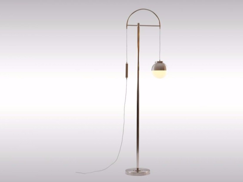 Height-adjustable brass floor lamp LIFT HOHE STEHLAMPE by Woka Lamps Vienna