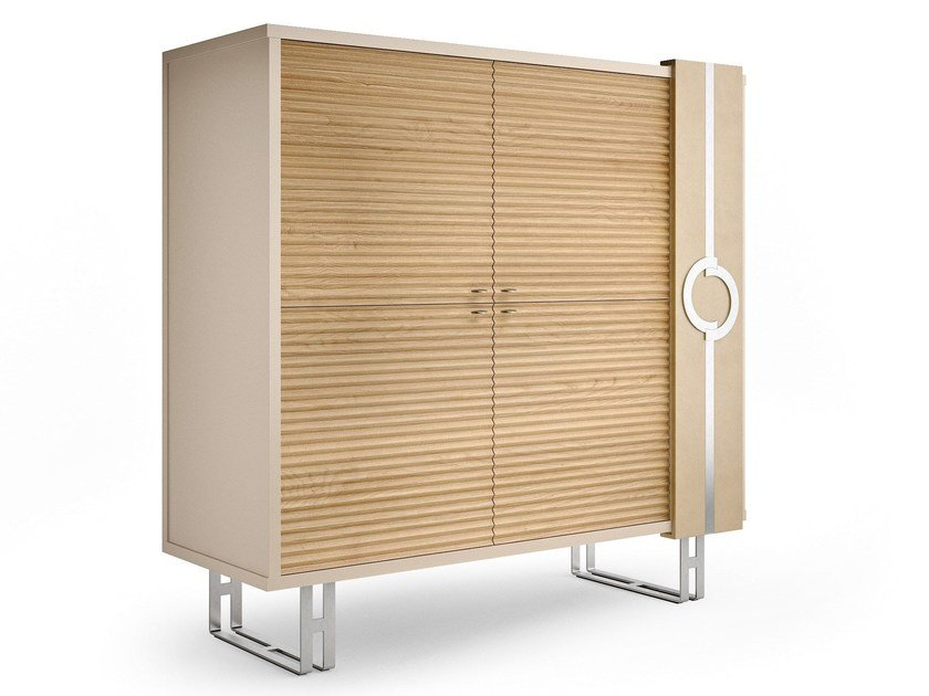 Contemporary style lacquered crystal highboard with doors with drawers LIFT | Highboard with doors by Caroti