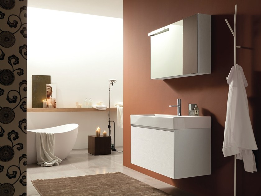 Double wall-mounted HPL vanity unit with mirror LIGHT 45 - COMPOSITION G04 by NOVELLO