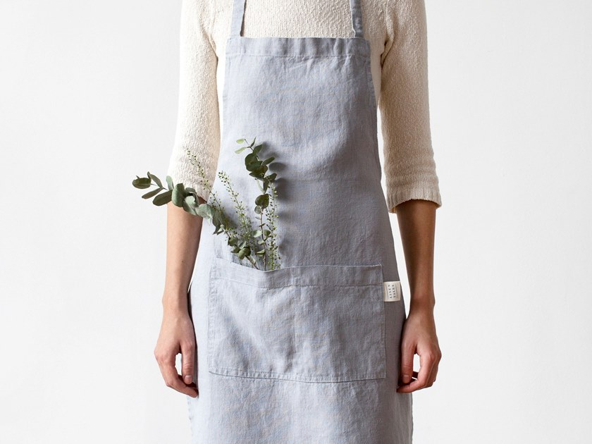 Washed linen apron LIGHT GREY | Kitchen apron by Linen Tales