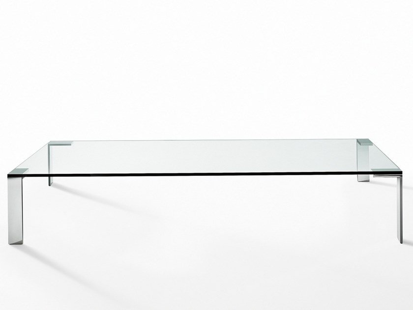 Rectangular crystal and steel coffee table LIKO GLASS | Coffee table by Desalto