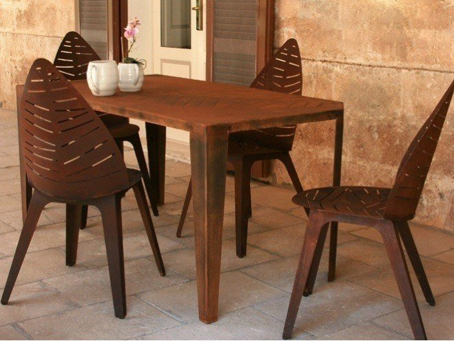 Rectangular Corten Garden Table Lila 001 Lila Collection By