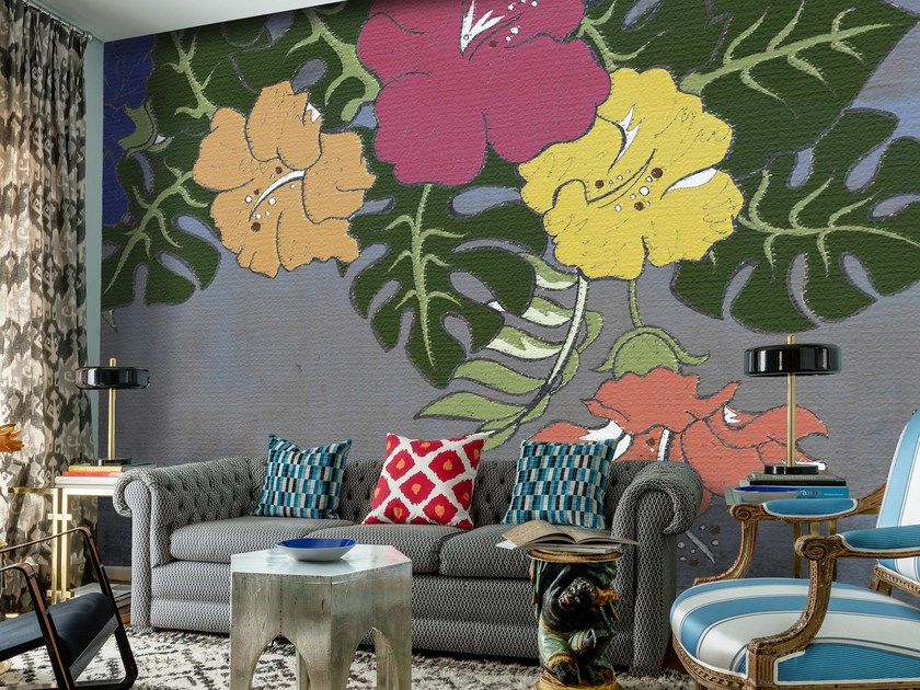 Wallpaper with floral pattern LILIES by Mat&Mat
