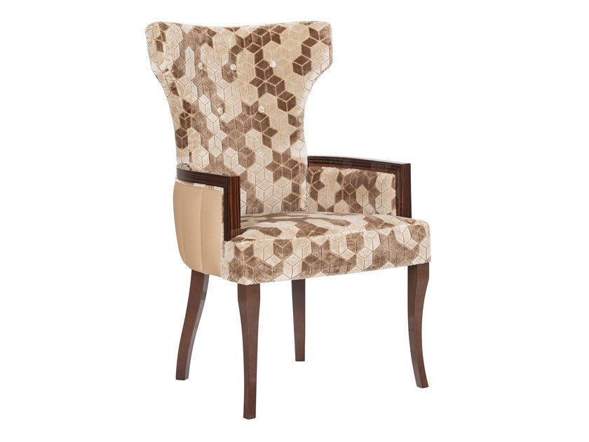 Upholstered high-back velvet chair with armrests LINE | Chair with armrests by Green Apple