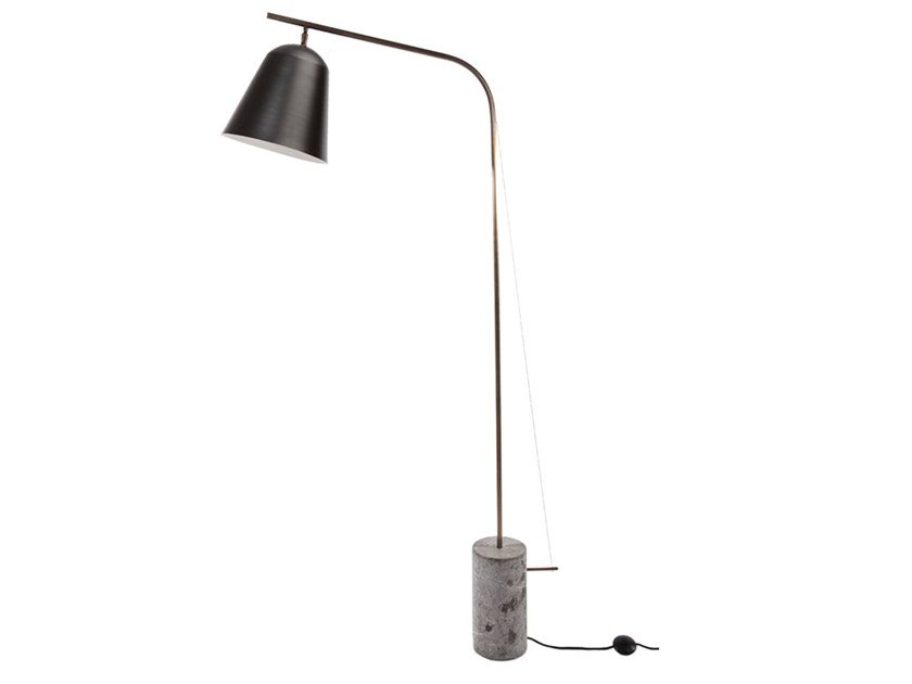Aluminium floor lamp with marble base LINE | Floor lamp by NORR11
