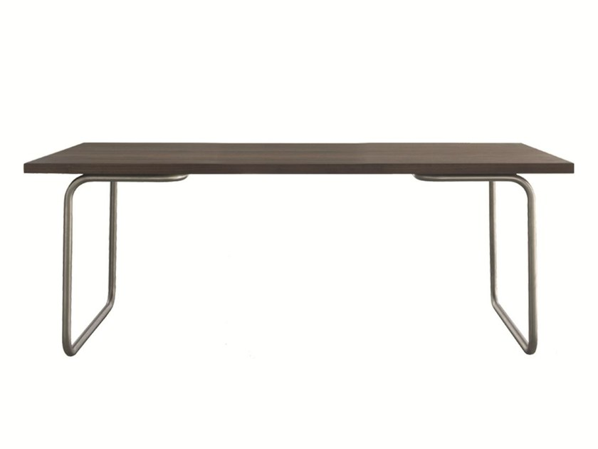 Stainless steel and wood table LINE by Palau