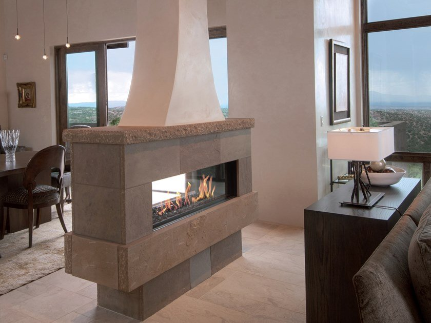 Double-sided gas closed fireplace LINEA 130 TUNNEL by BRITISH FIRES