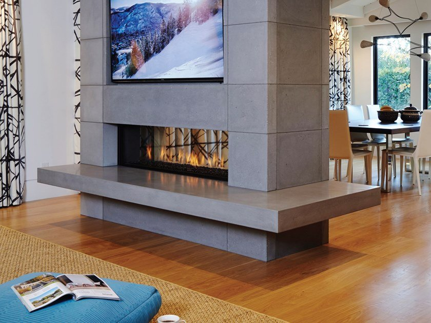 Double-sided gas closed fireplace LINEA 150 TUNNEL by BRITISH FIRES