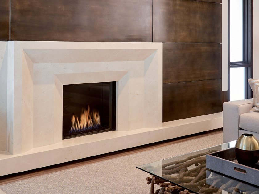 Gas built-in glass fireplace with remote control LINEA 75X65 by BRITISH FIRES