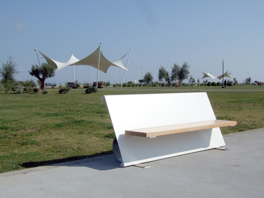 Bench with back steel LINEA ACCIAIO by LAB23 Gibillero Design