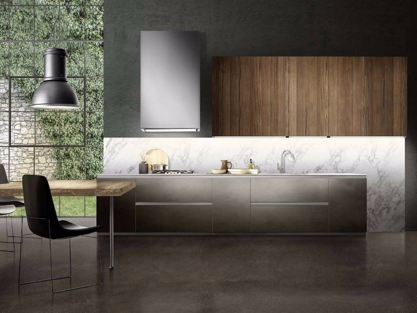 Fitted kitchen with integrated handles LINEA 01 by Composit