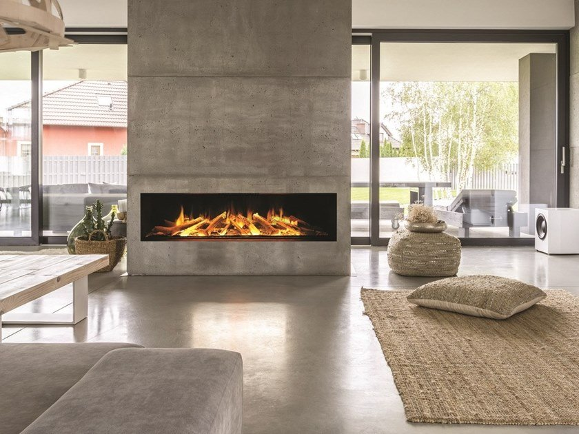 Electric built-in glass fireplace with remote control LINEA GF 1030 by BRITISH FIRES