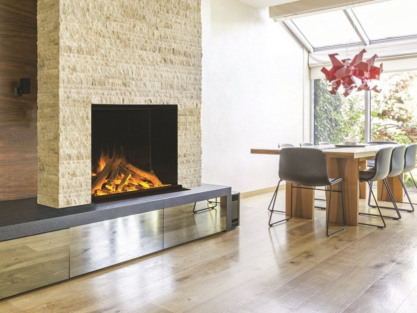 Electric built-in fireplace with remote control LINEA GF 800 by BRITISH FIRES