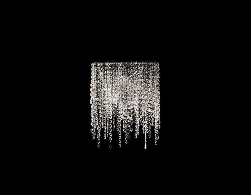 Halogen crystal and steel wall lamp LINEA W | Wall lamp by Manooi