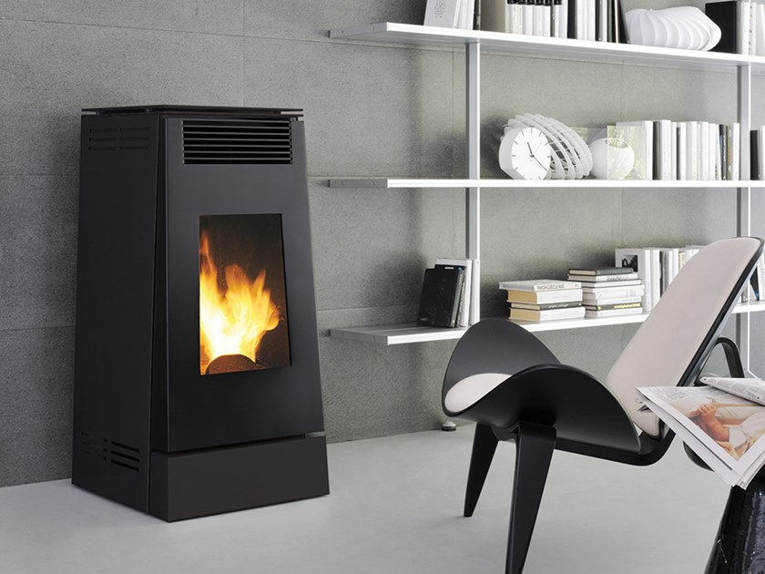 Pellet Class A+ steel Heating stove LINEA XW | Pellet stove by CAMINETTI MONTEGRAPPA