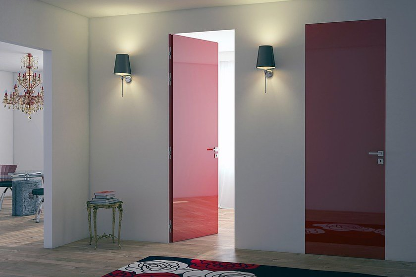 Contemporary style flush-fitting wooden door with concealed hinges LINEAR® + BATTENTE | Flush-fitting door by PROTEK®