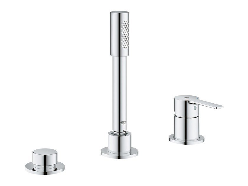 3 hole bathtub mixer with hand shower LINEARE NEW | 3 hole bathtub mixer by Grohe