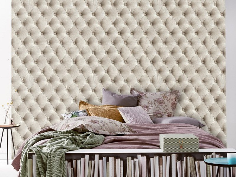 Wallpaper with textile effect LINEN TUFTED FABRIC by Koziel
