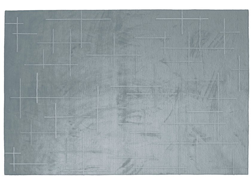 Solid-color rectangular silk rug LINES by GIORGETTI