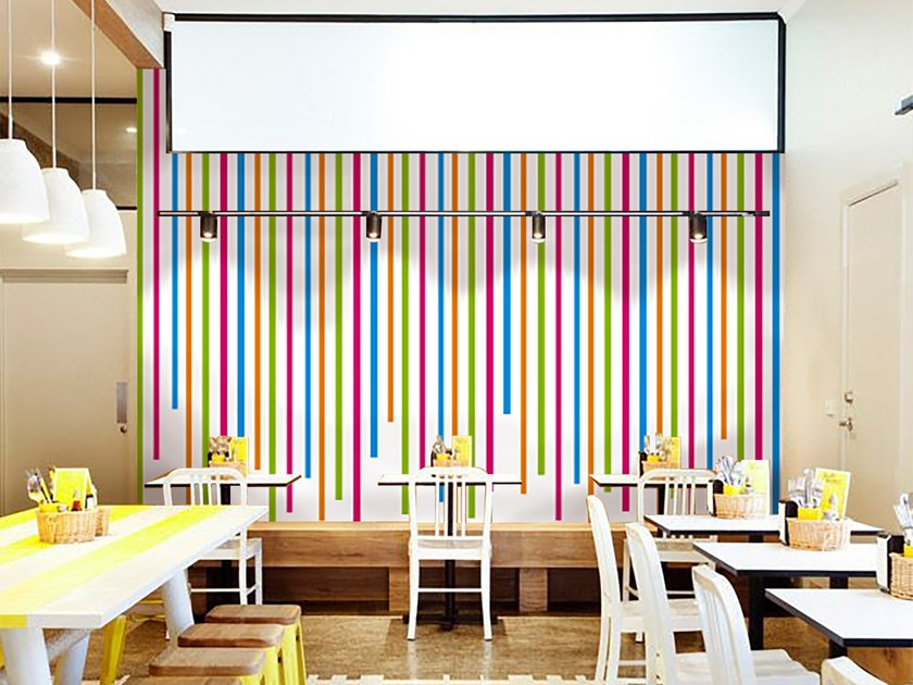 Striped adhesive washable wallpaper LINES by Wall LCA