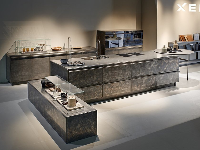 Kitchen with island LINGOTTO INOX HAND BRUSHED BLACK by Xera by Arex