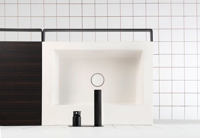 Single washbasin with towel rail LINK | Washbasin by EVER Life Design