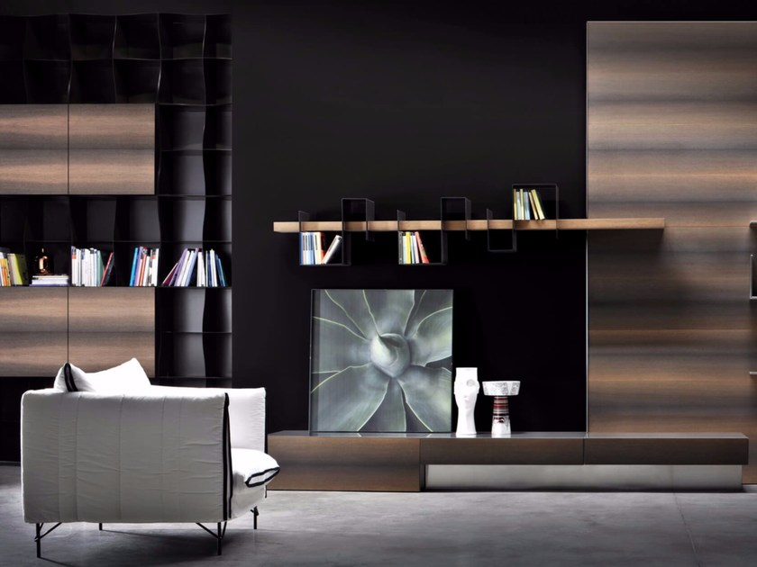 Wall-mounted wood veneer TV wall system LINK L10 by Ronda Design