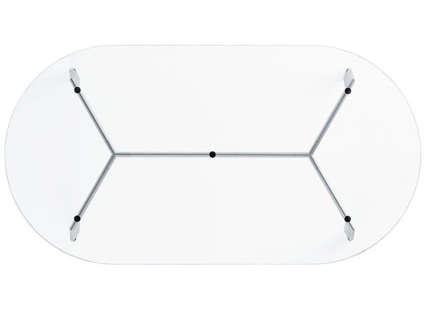 Oval glass and steel table LINK | Oval table by Desalto