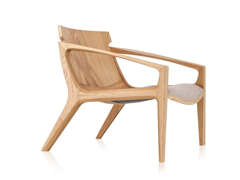 Solid wood armchair with armrests LINNA by Sollos
