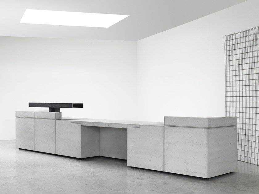 Modular lightweight concrete Office reception desk LINTEL by Isomi