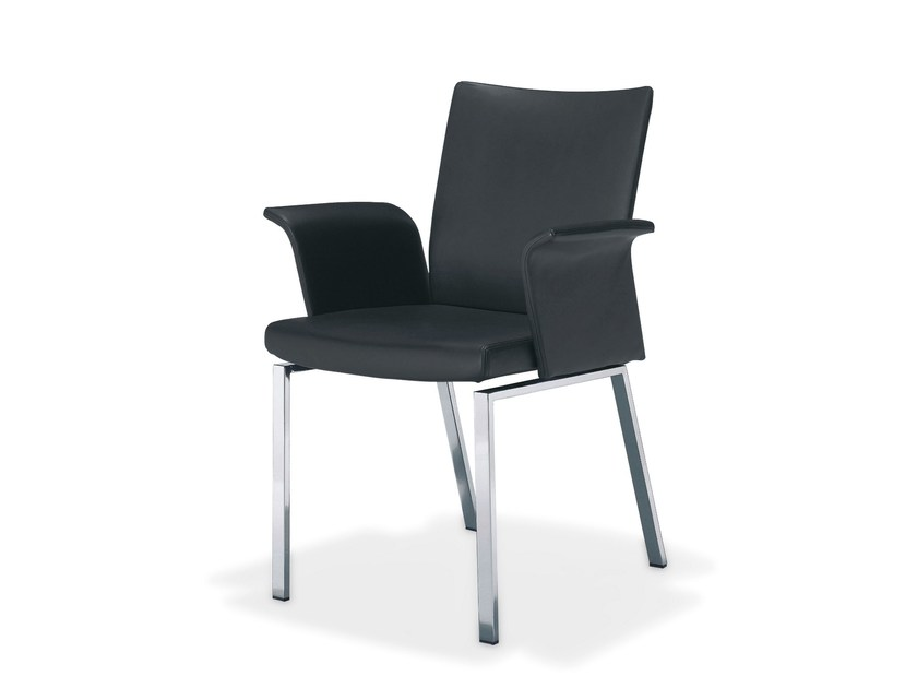 Leather chair with armrests LINUS | Chair with armrests by Draenert