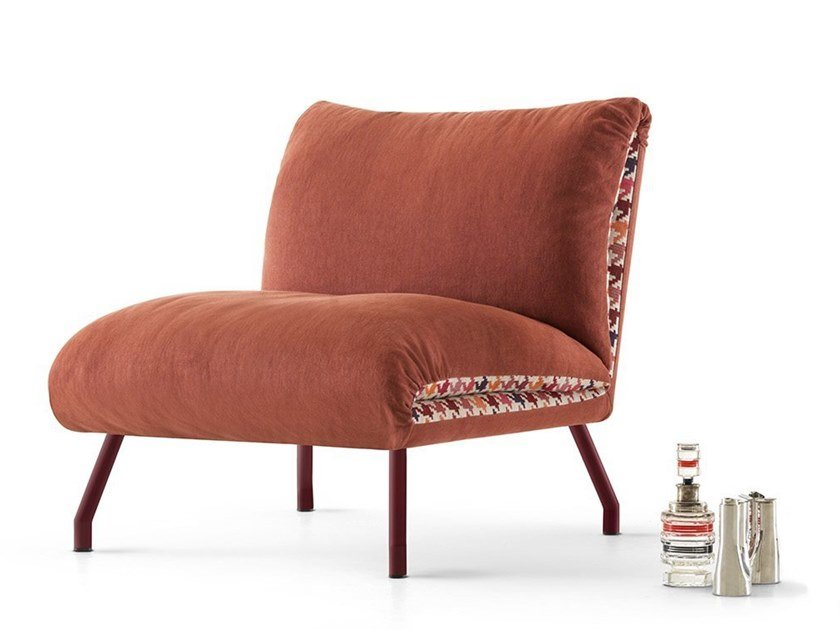 Upholstered fabric armchair LIPS by MY home collection