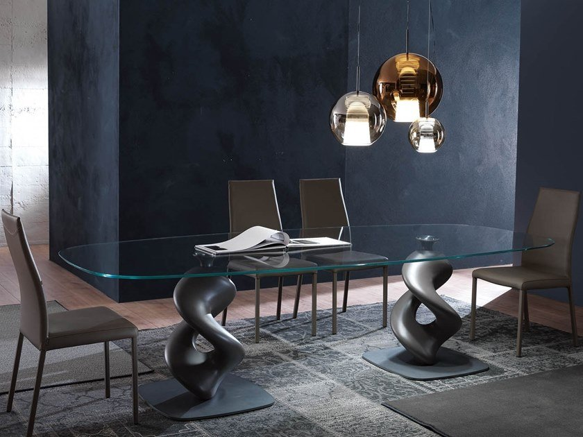 Oval glass table LIQUID BIG by Ozzio Italia