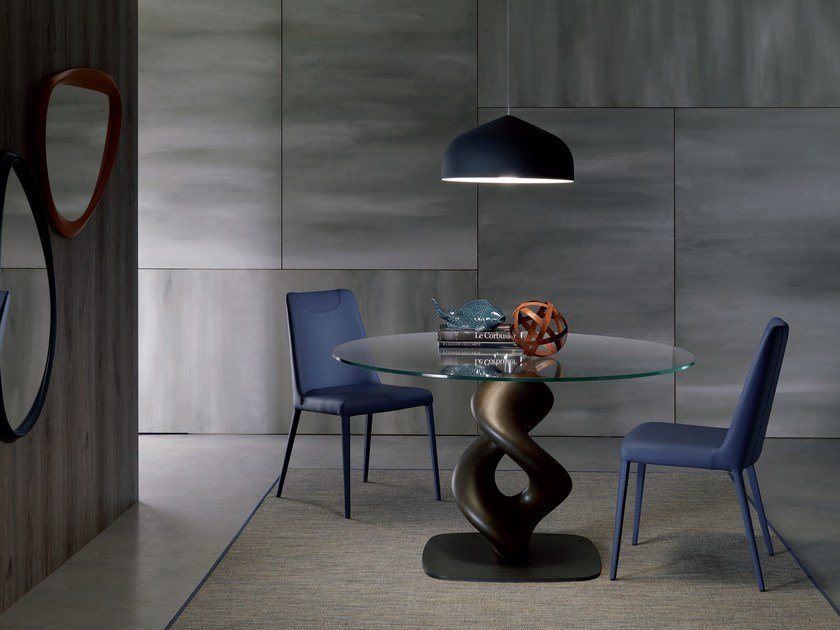 Round glass dining table LIQUID | Round table by Ozzio Italia