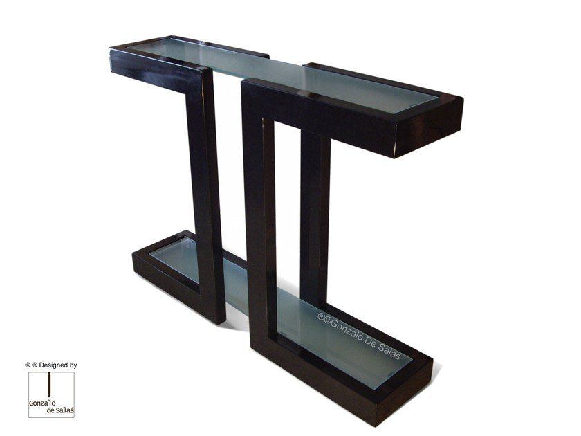Rectangular glass and iron console table LISA | Console table by Gonzalo De Salas