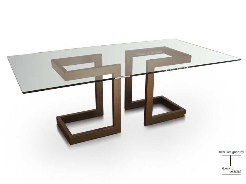 Rectangular glass and iron dining table LISA | Rectangular table by Gonzalo De Salas
