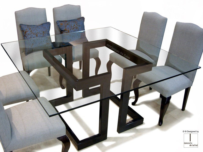 Square glass and iron dining table LISA | Square table by Gonzalo De Salas
