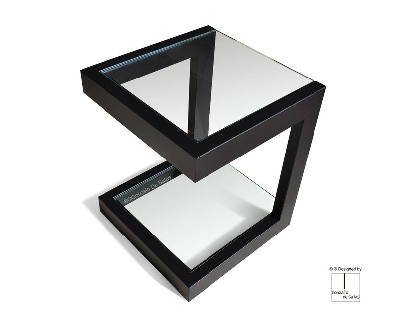 Square glass and iron side table LISA | Side table by Gonzalo De Salas
