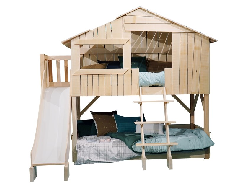 Linden Kids bunk bed with slide and platform LITS CABANES | Kids bunk bed by Mathy by Bols